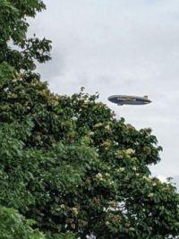 Goodyear blimp passes overhead (1)
