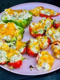 Grilled stuffed hot peppers from the garden (filled with chopped Italian sausage, cream cheese, green onions, cilantro, and garlic powder)