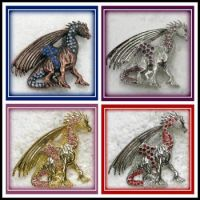 A Quad of Dragon Brooches