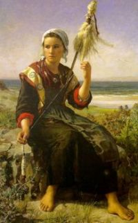 Jules Breton—Young Woman Spinning, 1872