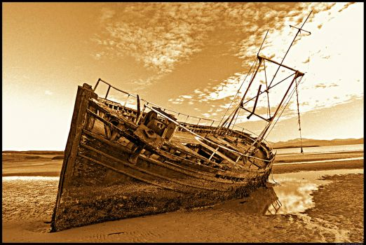 Sepia photo of wrecked trawler!