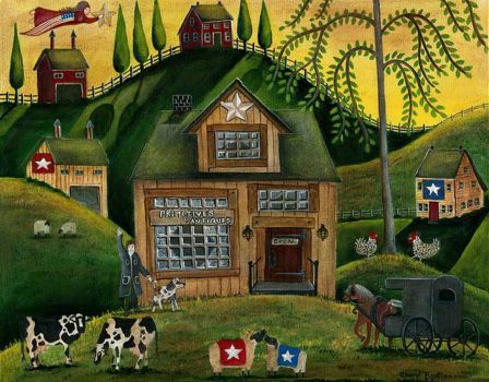 Folk Art landscape with cows & chickens