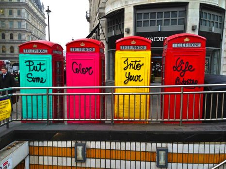 LONDON - COLOURFUL TELEPHONE BOXES