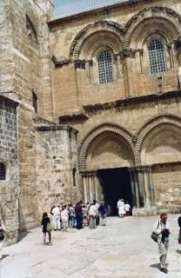 A98 Couryard and Entrance to the Church of the HoLy Sepulchere, Old Walled City, Jerusalem, 1994 Israel trip
