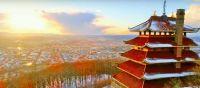 Pagoda at Reading PA, snow, drone view3