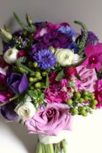 Happiness is..... Jewel Toned Bridal Bouquet.