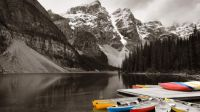 Moraine Lake Alberta canoe dock
