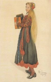 "Carl Larsson, ""Lisbeth Playing the Accordion"""