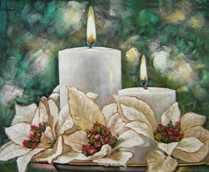 Candles and Poinsettias