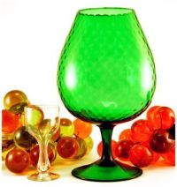 Retro Modern Optic Blown Glass Goblet Vase