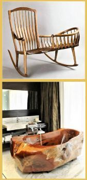 THEME ~ Flowers/Trees  ~~  Rocking Chair Cradle & Bathtub ..... ''I love this chair/cradle''
