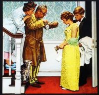 FIRST DATE - HOME LATE,  BY NORMAN ROCKWELL