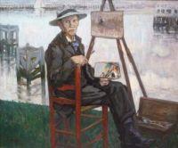 Auguste OLEFFE (1867-1931) Portrait du peintre Louis Thevenet dans le port de Wienport,1909