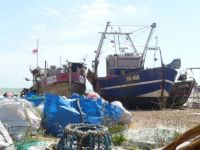 Fishing boats at Hastings sussex uk