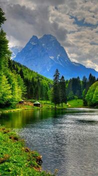 lake riessersee and mount alpsitz Germany