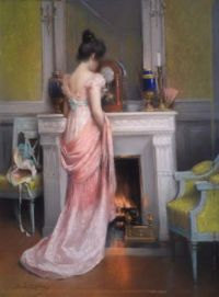 """Delphin Enjolras, """"Young Woman in front of the Fireplace"""""""