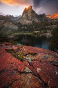 Sundial Peak and Lake Blanche at sunrise, Big Cottonwood Canyon, Utah