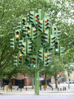 Traffic lights Christmas Tree -  Canary Wharf London.