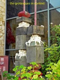 Before the Safed Art Museum - several grotesques being crushed, Israel trip, Dec, 2016