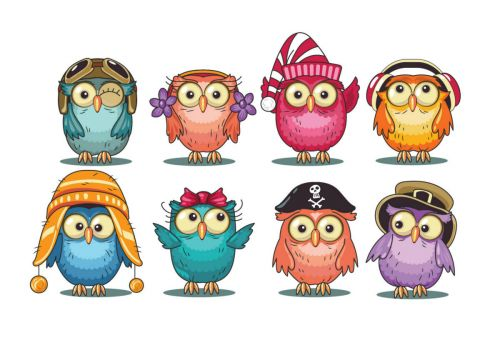 cute-cartoon-owls-collection-vector