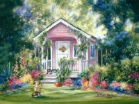 Pretty little pink cottage, cute teddy bear on a trick....