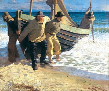 Oscar Björck, Launching the Boat. Skagen (1884)