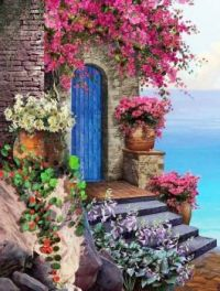 Old Blue Door by the Mediterranean...