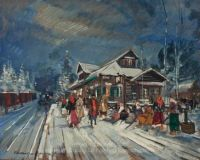 A Village in Winter by Konstantin A. Korovin