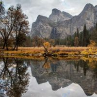 Three Brothers and Bridalveil Falls, Valley View, Yosemite National Park, California