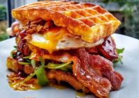 Chicken Waffle Burger with Egg & Maple Glazed Bacon