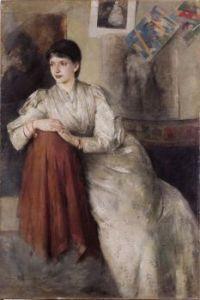 Portrait d'une femme en robe blanche (Portrait de Zofia Federowicz) (1890). Olga Boznańska