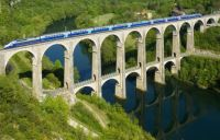The TGV crossing over the Cize - Bolozon viaduct