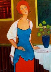 Lady Standing by Table  - Krystyna Ruminkiewicz