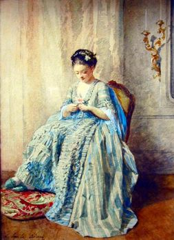 Louis Emile Adan (1839-1937) - Young Woman with a Rose