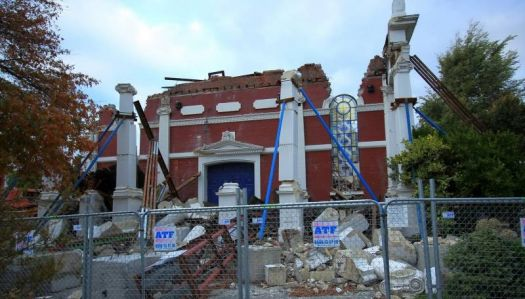 Oxford Terrace baptist Church after the Earthquake.
