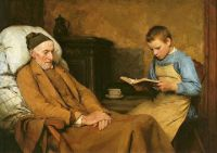 Albert Anker, Reading Devotions to Grandfather (1893)
