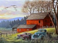 Old Barn and Vehicles