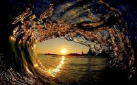 Sunset From Inside A Wave