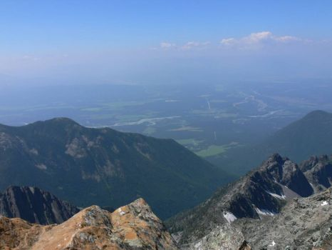 After a 5000' and 6km Hike. Looking down from Fisher Peak