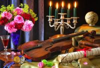 brown violin, notes, watch, glass, books, roses, bouquet, candles