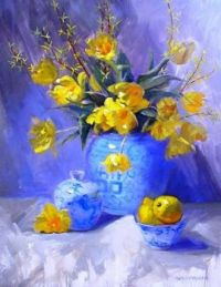 Theme of spring in blues and gold