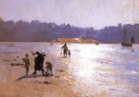 "Laurits Tuxen, ""Low Tide in Moonlight"", 1888"