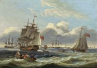 Thomas Luny - Warships and a cutter in a heavy swell off Harwich 1818