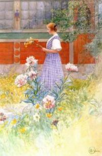 "Carl Larsson, ""Lisbeth and Peonies"""