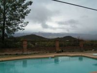 Snow on Catalina Mountains, behind Twin hills, behind Tucson Swimming Pool