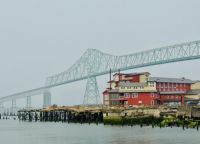 Old Cannery, now Cannery Hotel, and Astoria Columbia River bridge