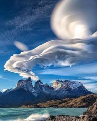 Lenticular clouds over Torres del Paine, Chilean Patagonia