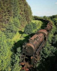 abandoned train and tracks