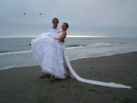 at the ocean--got married