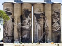 De-commissioned grain silos at Brim, N.W Victoria, Australian, now a star attraction with these murals.